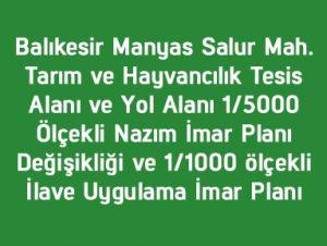 Tarım ve Hayvancılık Tesis Alanı ve Yol Alanı 1/5000 Ölçekli Nazım İmar Planı Değişikliği ve 1/1000 ölçekli İlave Uygulama İmar Planı